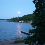 Moon over the Bay at Big Whiteshell Lodge