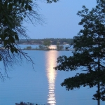 Moonlight Over the Dock at Big Whiteshell Lodge