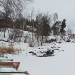 Shorefront in Winter at Big Whiteshell Lodge